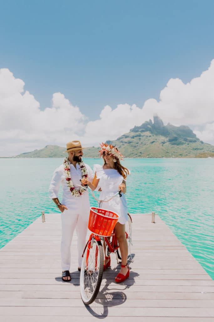 photoshoot at the St Régis Bora Bora main dock morning