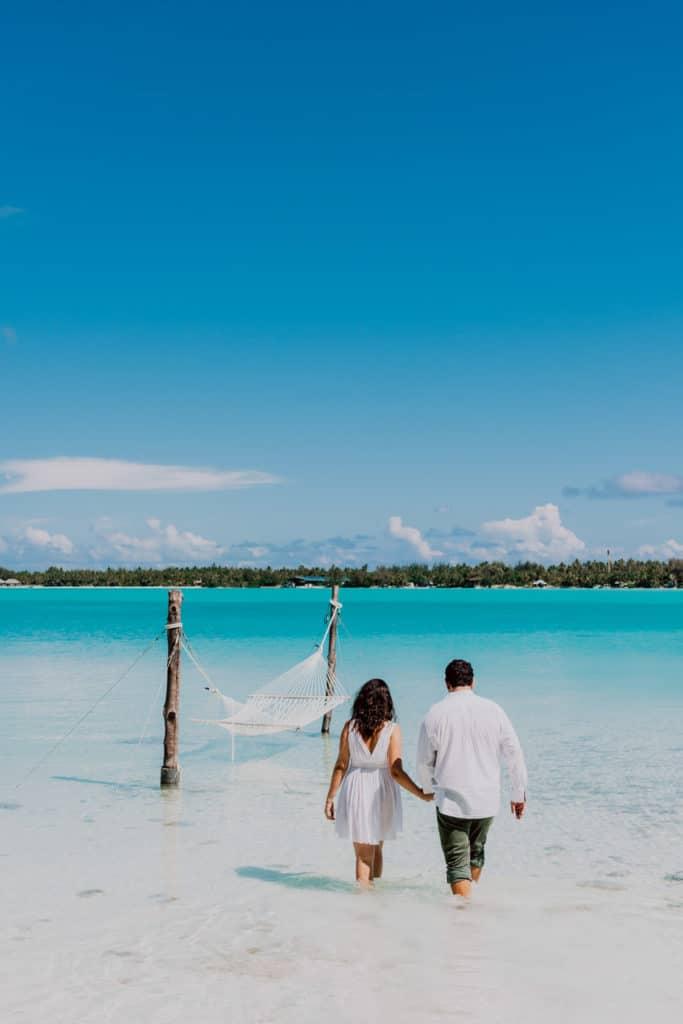 photoshoot at the St Régis Bora Bora water hammock
