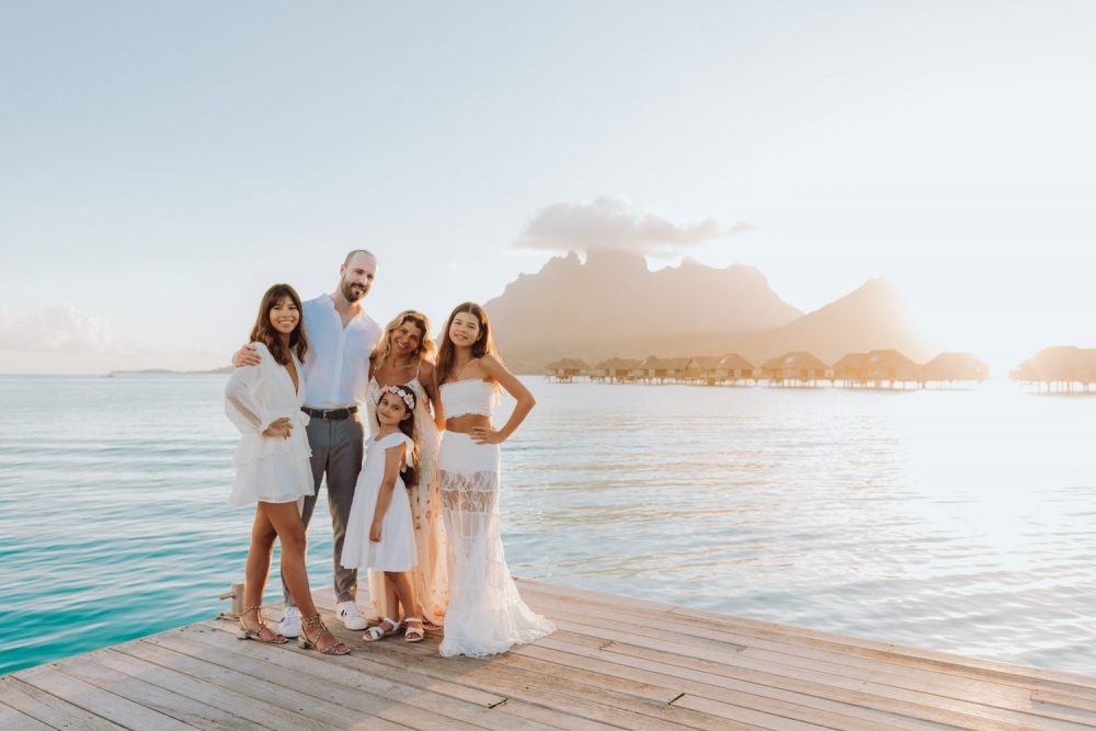 Family portrait at the Four Seasons Bora Bora