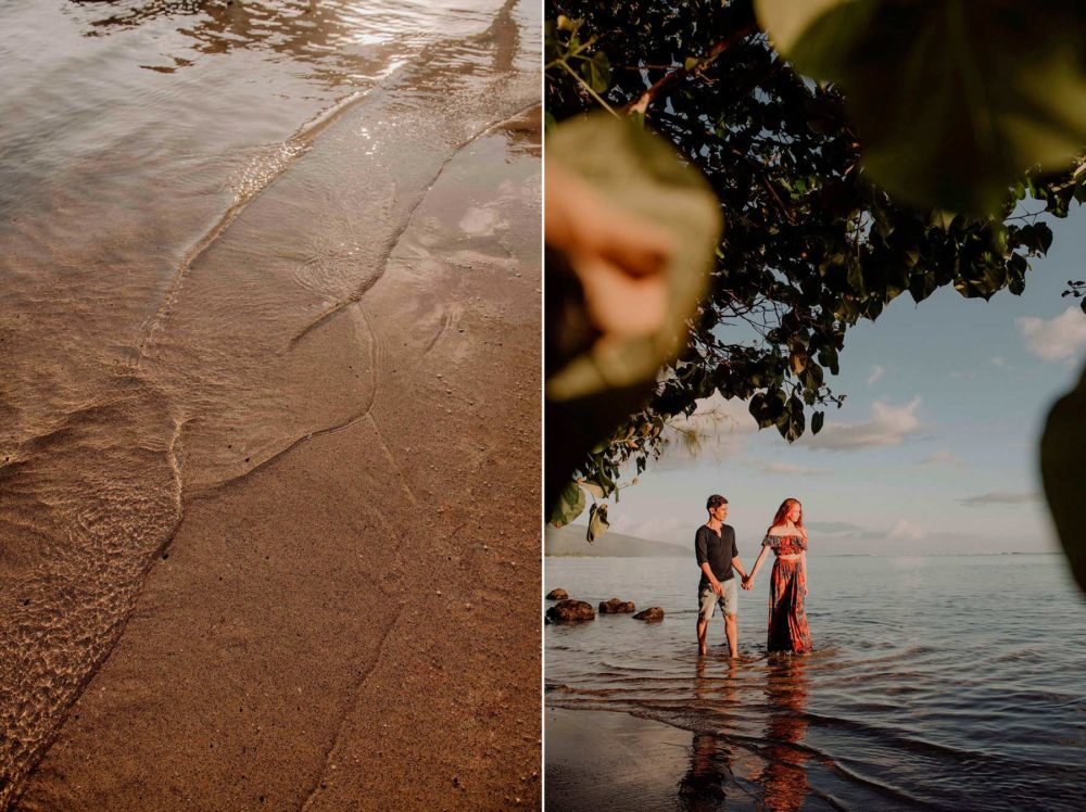 Séance photo de couple sur la plage de l'hôtel Le Méridien Tahiti