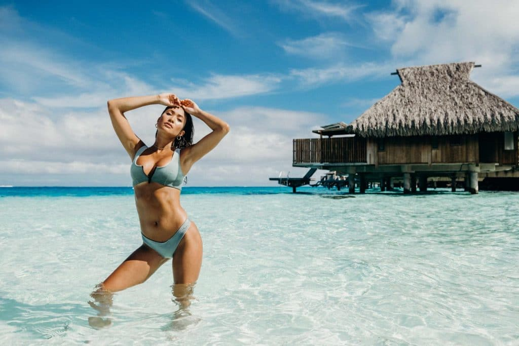 Bikini photoshoot in the lagoon of Bora Bora