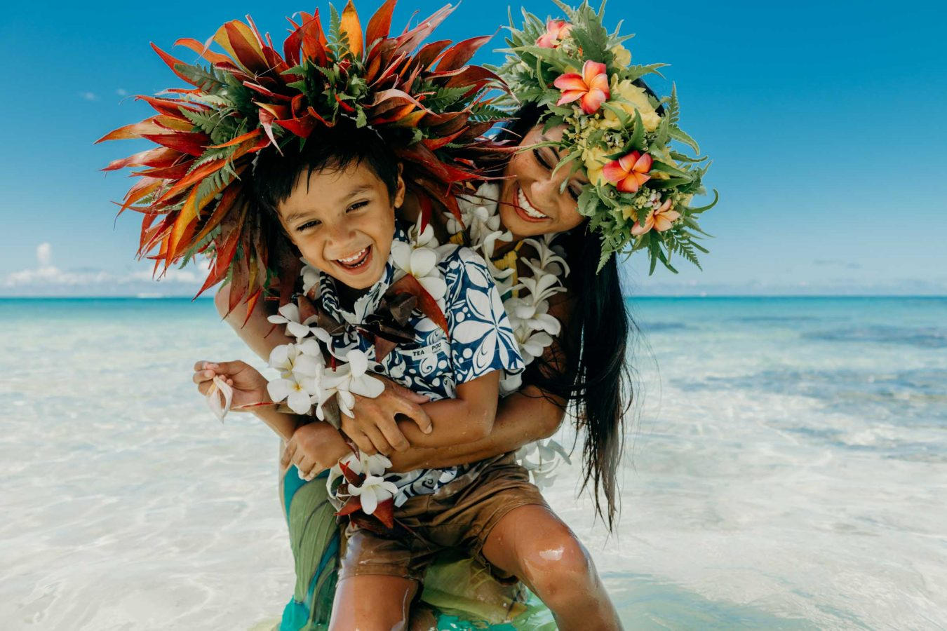 Mother and son photo shoot in Bora Bora