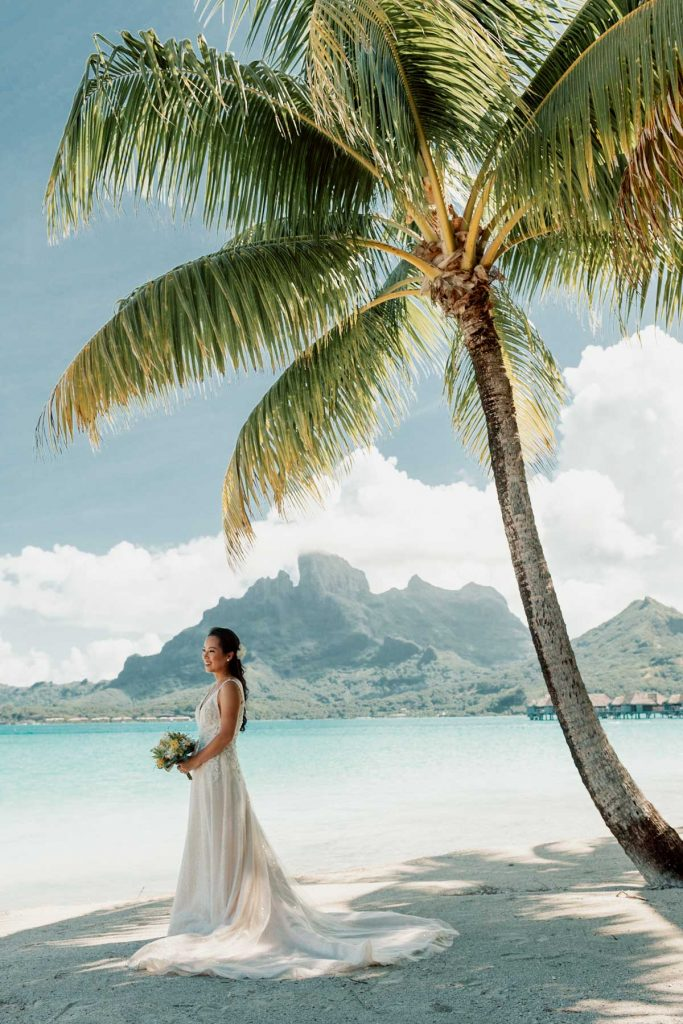 Bride in the Four Seasons Bora Bora