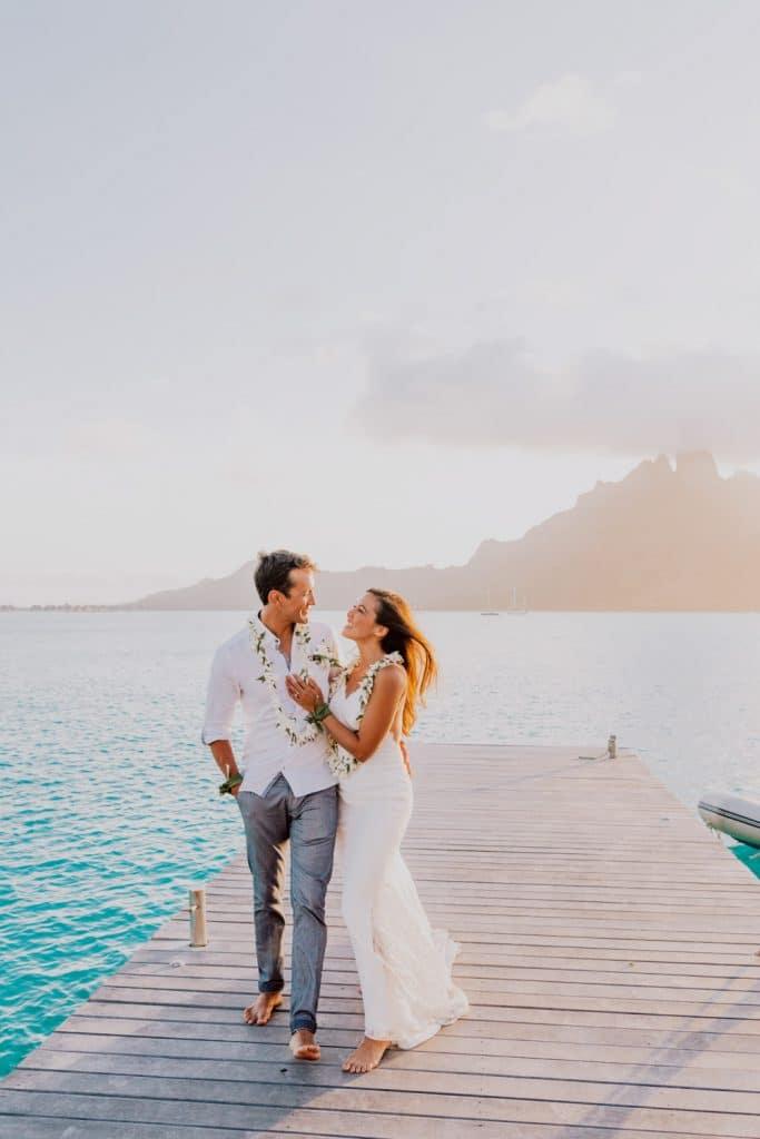 photoshoot at the St Régis Bora Bora main dock sunset