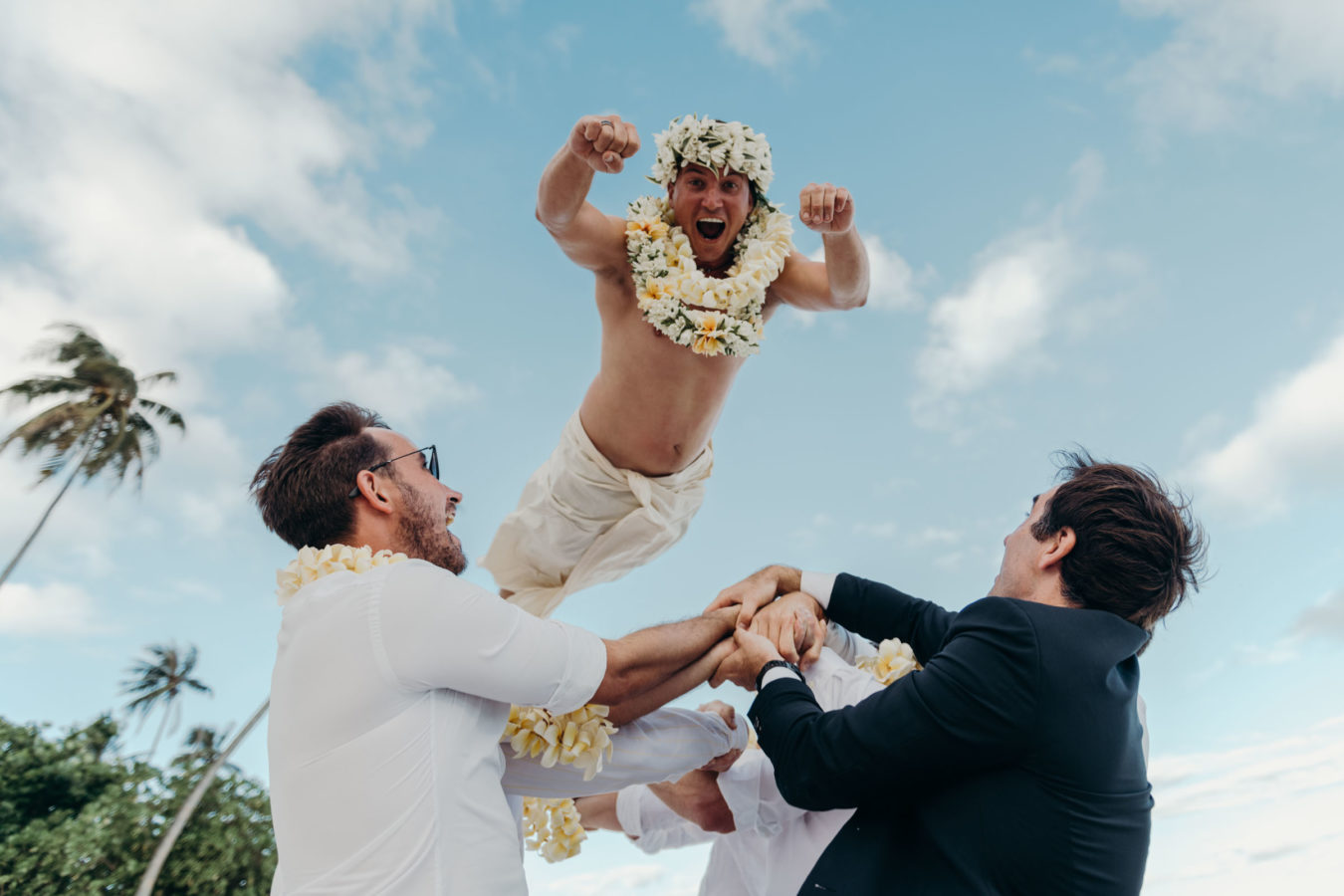 Photography of a flying groom
