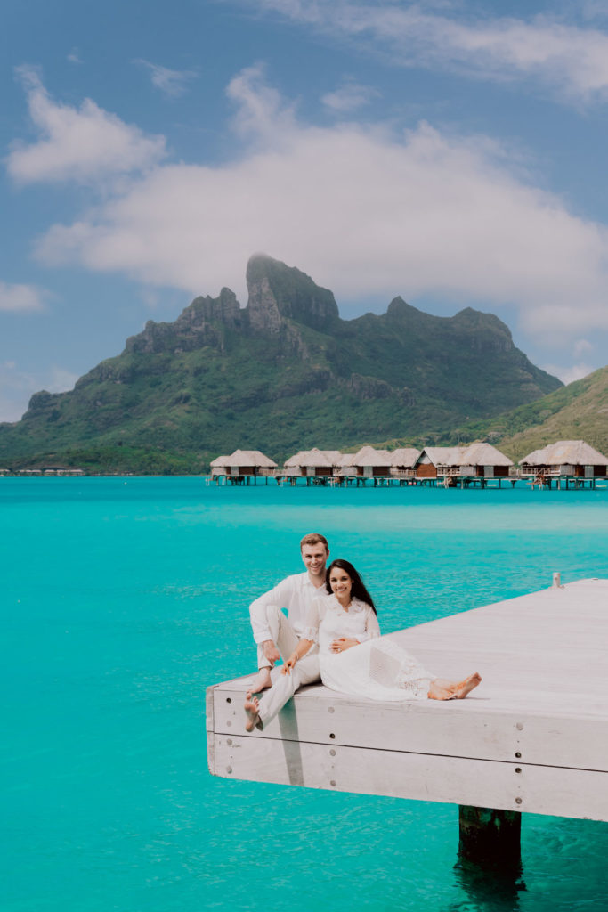 photoshoot at the Four Seasons Bora Bora main dock