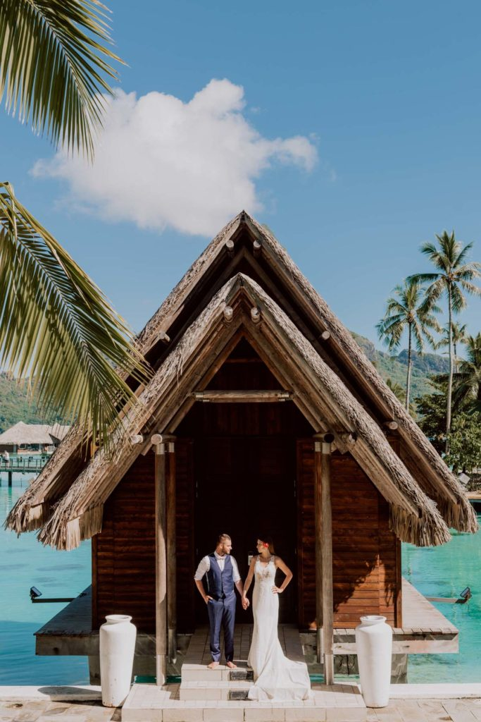 photoshoot at the Intercontinental Thalasso Bora Bora chapel beach