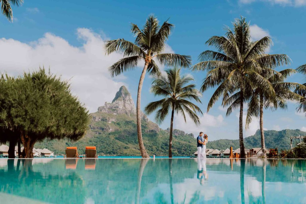 photoshoot at the Intercontinental Thalasso Bora Bora main pool