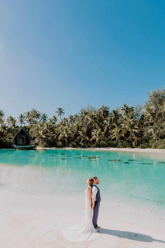 photoshoot at the Intercontinental Thalasso Bora Bora chapel beach