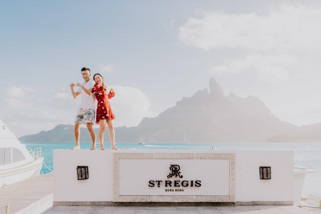 photoshoot at the St Régis Bora Bora main dock