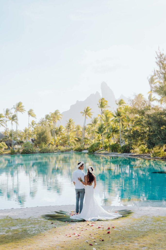 photoshoot at the St Régis Bora Bora spa beach