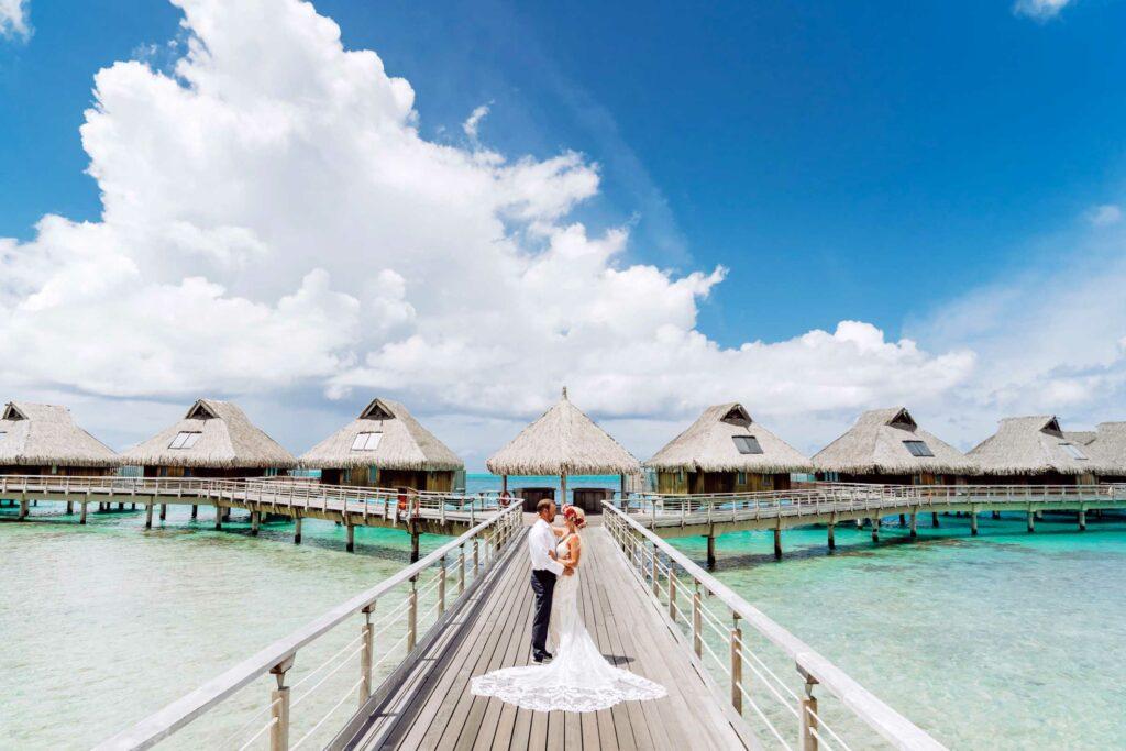 Photoshoot Conrad Bora Bora - Overwater bungalow bridge
