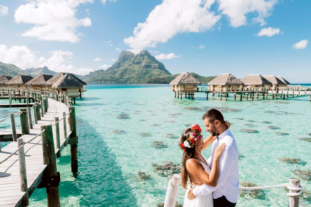 Photoshoot at Le Bora Bora - Bungalow bridges